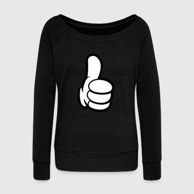 Thumbs Comic Thumbs up - Comic Thumb - Mickey Thumb - Women's Wideneck Sweatshirt