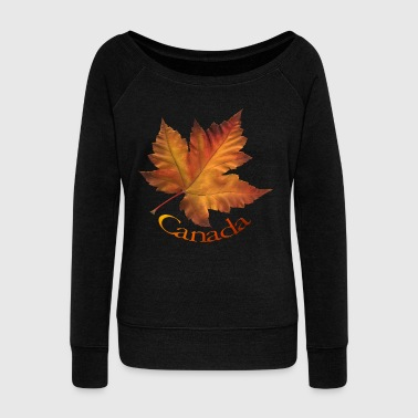 Canada Maple Leaf Art Souvenirs & T-shirts  - Women's Wideneck Sweatshirt