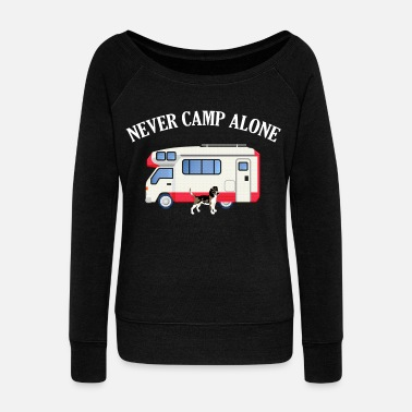 Border Collie Never Camp Alone Beagle RV Camper Gift - Women's Wideneck Sweatshirt