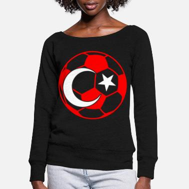 Turkish Funny Turkish football - Women's Wide-Neck Sweatshirt