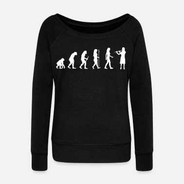 Bass Flutist Gift Transverse Flute Player Evolution Man - Women's Wide-Neck Sweatshirt