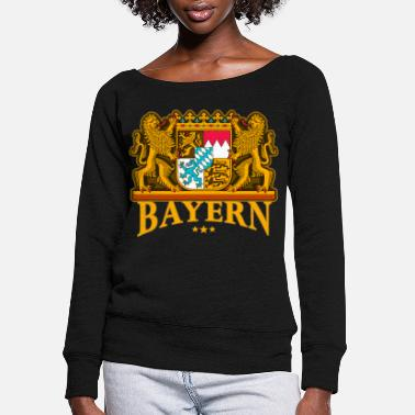 Bavaria Oktoberfest Bavaria coat of arms Wiesn - Women's Wide-Neck Sweatshirt