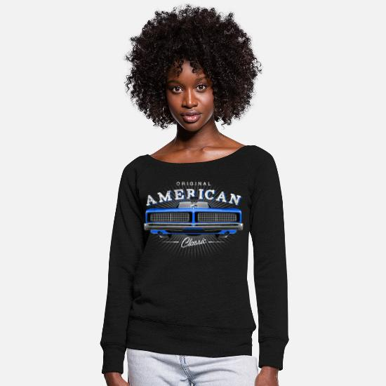 Dodge Hoodies & Sweatshirts - Classic Dodge Charger Muscle Car - Blue - Women's Wide-Neck Sweatshirt black