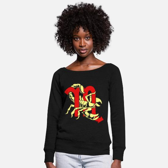 Zodiac Hoodies & Sweatshirts - Scorpio Scorpion Zodiac Insect Poison Stinger - Women's Wide-Neck Sweatshirt black