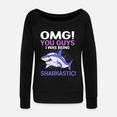 Fin Shark Fin Fish Sharks Family Ocean Sea Funny - Women's Wide-Neck Sweatshirt