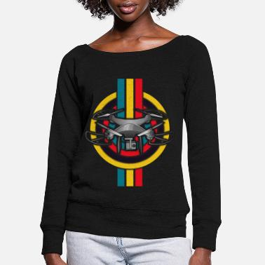 Retro Drone Pilot Quadcopter Flying Vintage Pilot - Women's Wide-Neck Sweatshirt