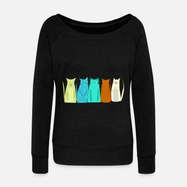 Funny Cats Funny cats love cats - Women's Wide-Neck Sweatshirt