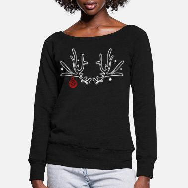 Antler Antler with stars and christmas ball - Women's Wide-Neck Sweatshirt