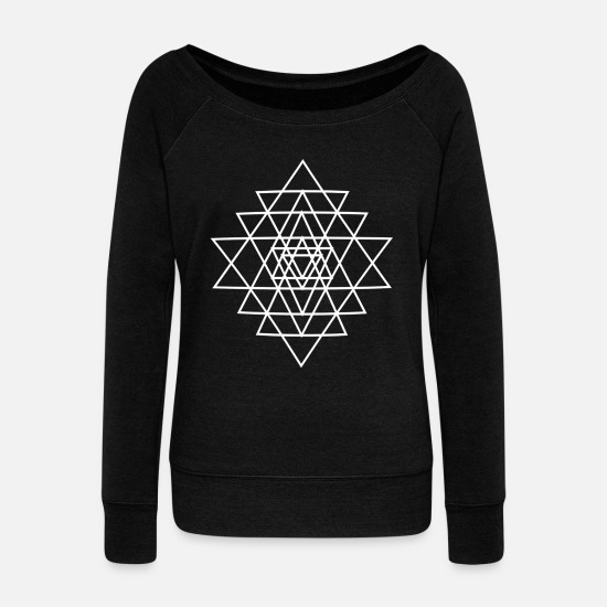 Geometry Hoodies & Sweatshirts - Geometry triangle - Women's Wide-Neck Sweatshirt black
