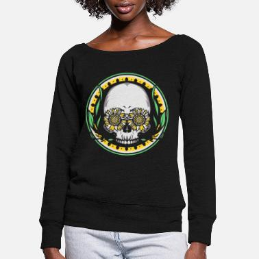 Hippie Beautiful Summer Sun Flower Sunflower Skull - Women's Wide-Neck Sweatshirt
