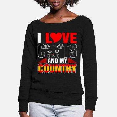 Spain Countries Flags I Love Cats And My Spain Country - Women's Wide-Neck Sweatshirt