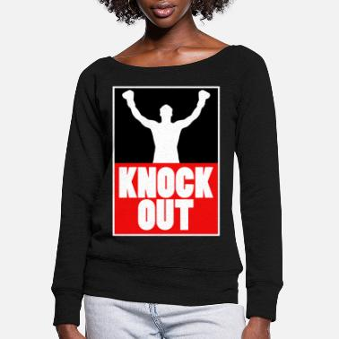 Boxing Knock Out Champion Boxer Sports Gift Idea - Women's Wide-Neck Sweatshirt