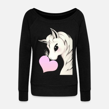 Mystic Unicorn with heart - Women's Wide-Neck Sweatshirt