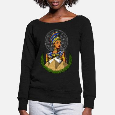 Ancient Egyptian Queen Nefertiti Ancient Mythology - Women's Wide-Neck Sweatshirt