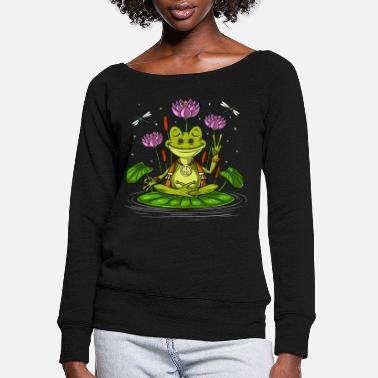 Lotus Hippie Frog Meditation - Women's Wide-Neck Sweatshirt