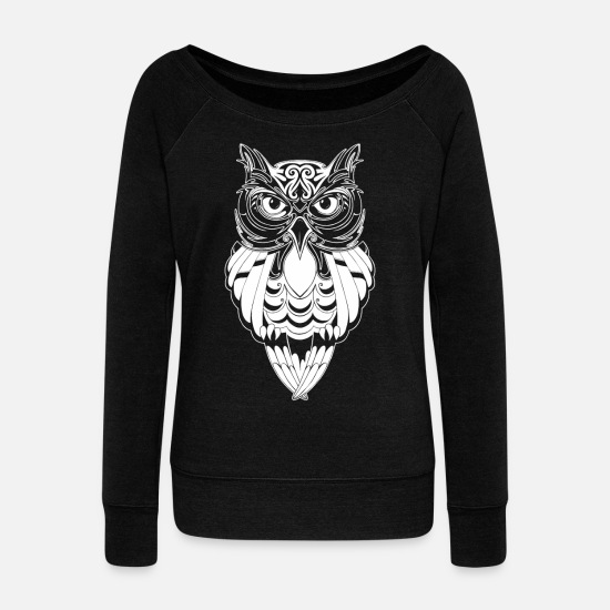 Owl Hoodies & Sweatshirts - Owl Tshirt - Women's Wide-Neck Sweatshirt black