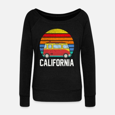 Vanity Retro California Hippie Van Beach Bum Surfer - Women's Wideneck Sweatshirt