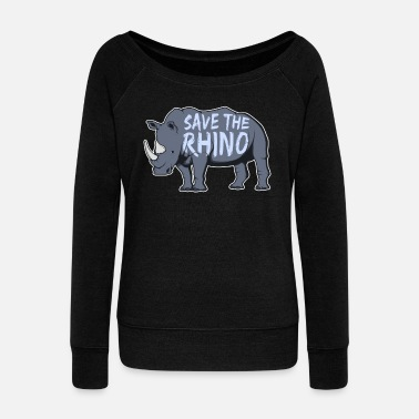 Threatend Species Rhino Threatend Species - Women's Wide-Neck Sweatshirt