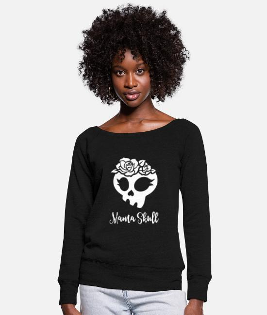 Mummy Hoodies & Sweatshirts - Trollhunters - Mama Skull - Women's Wide-Neck Sweatshirt black