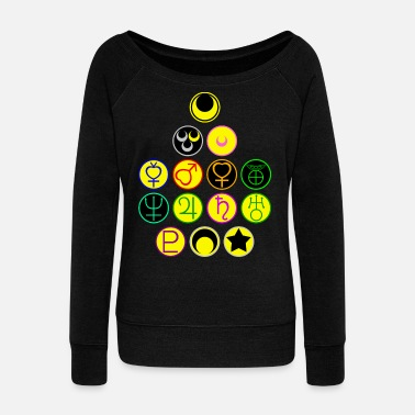 Moon Sailor Scouts and the Moon Symbols - Women's Wide-Neck Sweatshirt