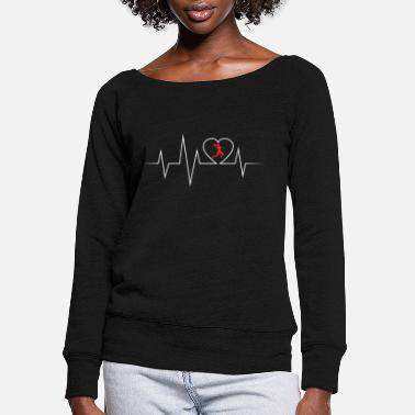 Goalkeeper Handball ECG love and heartbeat - Women's Wide-Neck Sweatshirt