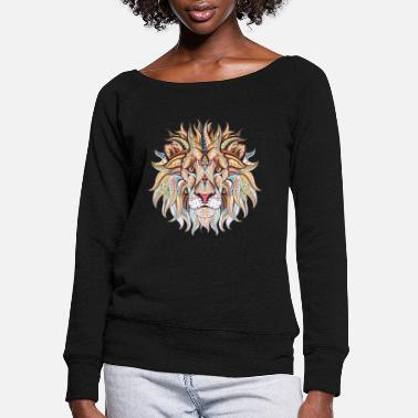 Ethnic Tribal Lion - Women's Wide-Neck Sweatshirt