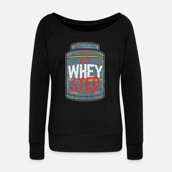 Muscle Hoodies & Sweatshirts - Natural Vegan Bodybuilding Gift I Funny Gainz - Women's Wide-Neck Sweatshirt black