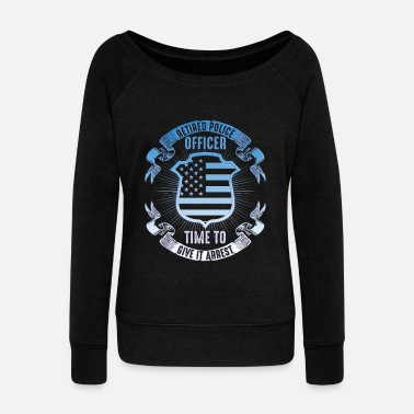 Prison Police hero handcuffs America USA gift - Women's Wide-Neck Sweatshirt