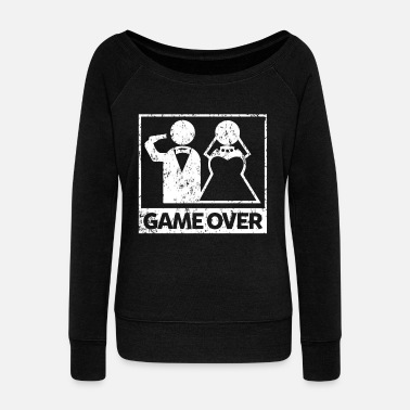 Bachelorette Bachelor party game over - Women's Wide-Neck Sweatshirt