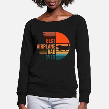 Model Airplane Papa Father's Day Father Flying - Women's Wide-Neck Sweatshirt