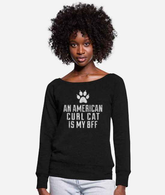 Catcher Hoodies & Sweatshirts - Cute American Curl Cat Breed - Women's Wide-Neck Sweatshirt black