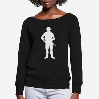 Retired Afghanistan US Military American Soldier 4th July Veteran Gift - Women's Wide-Neck Sweatshirt