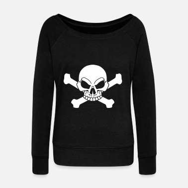 Pirate Flag Bones Pirate flag - Women's Wide-Neck Sweatshirt