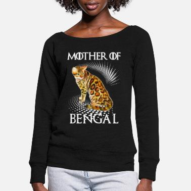 Mother Mother Of Bengal Cat Shirt - Women's Wide-Neck Sweatshirt