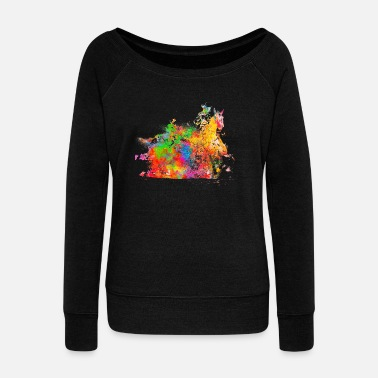 Western Riding Riding western - Women's Wide-Neck Sweatshirt