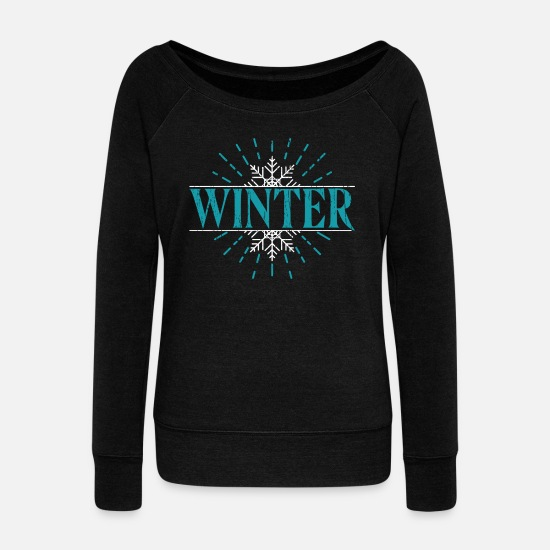 Winter Hoodies & Sweatshirts - Winter - Women's Wide-Neck Sweatshirt black
