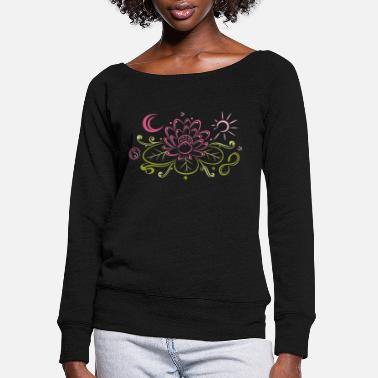 Sun Lotus with moon, yin yang and sun - Women's Wide-Neck Sweatshirt