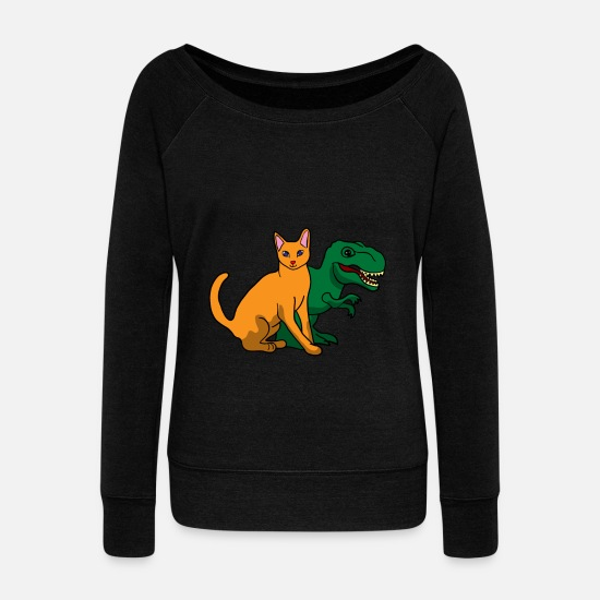 Trend Hoodies & Sweatshirts - Dinosaur Dino Animal Lizard Jurassic Trend Gift - Women's Wide-Neck Sweatshirt black