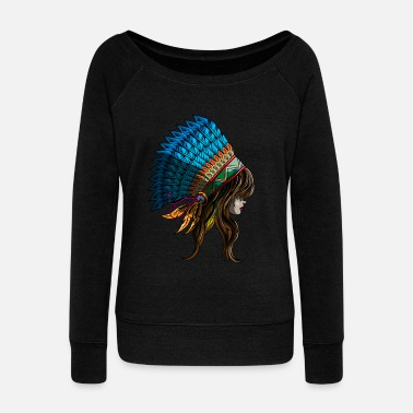 India American Indian Woman Indiana States Native Gift - Women's Wide-Neck Sweatshirt