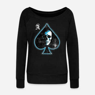 Holdem Skull Ace of Spades (white blue) - Women's Wideneck Sweatshirt