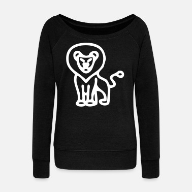 Leo Simplified Male Lion - Women's Wideneck Sweatshirt