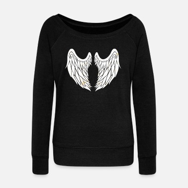 Angel's Wings Angel - Wings - Spiritual Heaven Light Halo - Women's Wideneck Sweatshirt