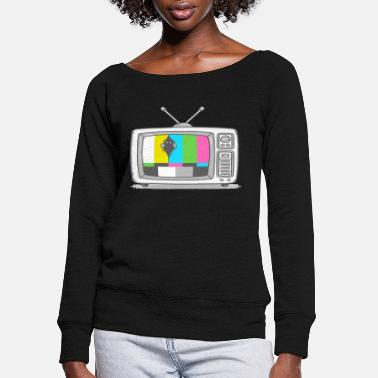 Watch Tv Watching TV - Women's Wide-Neck Sweatshirt