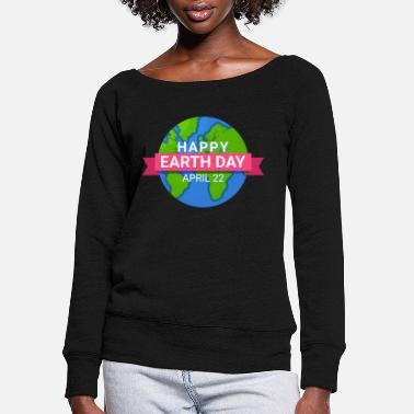 Couple Happy Earth Day - Earth Day April 22 - Women's Wide-Neck Sweatshirt