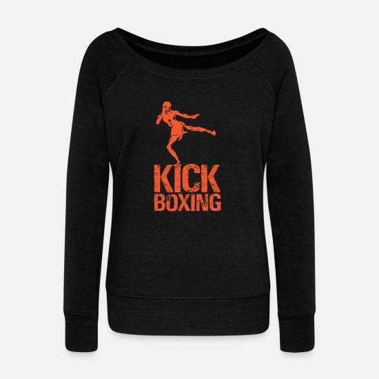 Kickboxing Hoodies & Sweatshirts - Kickboxing - Women's Wide-Neck Sweatshirt black
