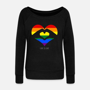Heart Love Is Love - LGBT Rainbow Heart - Women's Wide-Neck Sweatshirt