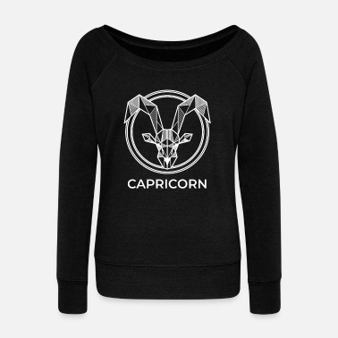 Geometry Capricorn zodiac sign geometric gift hipster birth - Women's Wide-Neck Sweatshirt