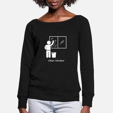 Windows Student Duty Roster Clean Window - Women's Wide-Neck Sweatshirt