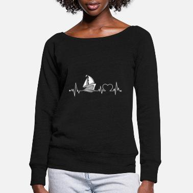 Boat Heartbeat with a boat 01 - Women's Wide-Neck Sweatshirt