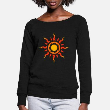 Sun Tribal Sun Symbol Tribal Tattoo Gift Idea - Women's Wide-Neck Sweatshirt